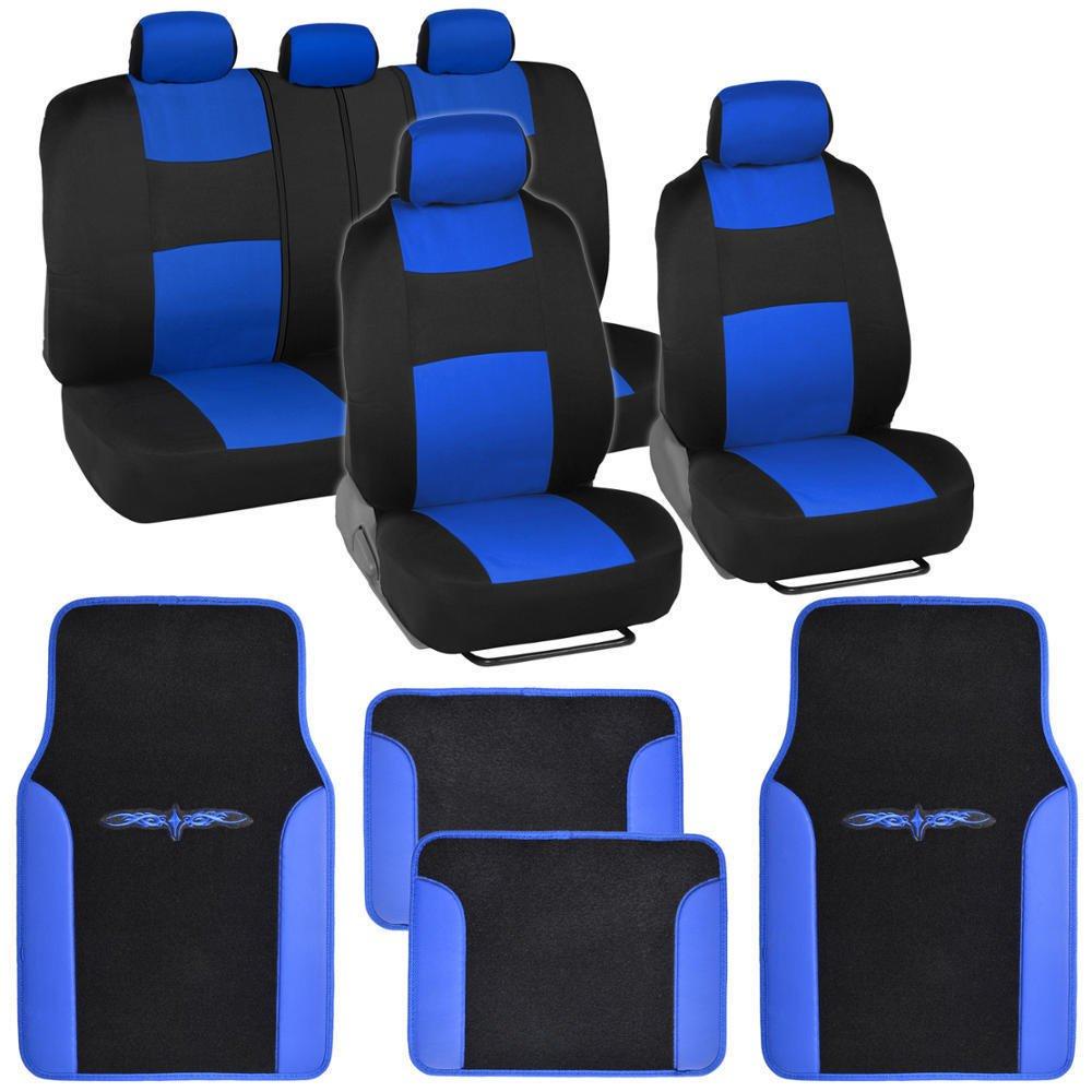 blue black car interior set split bench seat covers 2 tone floor mats. Black Bedroom Furniture Sets. Home Design Ideas
