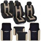 Rome Sport Seat Covers Set Front & Rear Racing Stripes Black Tan plus Vinyl Mats