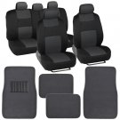 9 Pc Car Seat Covers Set Black and Charcoal w/ 4 Pc Charcoal Carpet Floor Mats