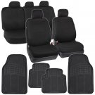 Full Black Car Seat Covers Front & Rear w Rubber Floor Mats Auto Interior