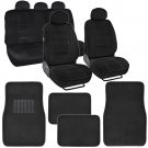 13 Pc Car Seat Covers And Floor Mats Combo in Black Comfy Velour Carpet Interior