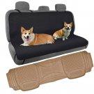Dog Seat Cover Waterproof Hammock w Odorless Heavy Duty Rubber Floor Mat Gray
