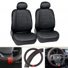 Leatherette Black Front Car Seat and Steering Wheel Cover