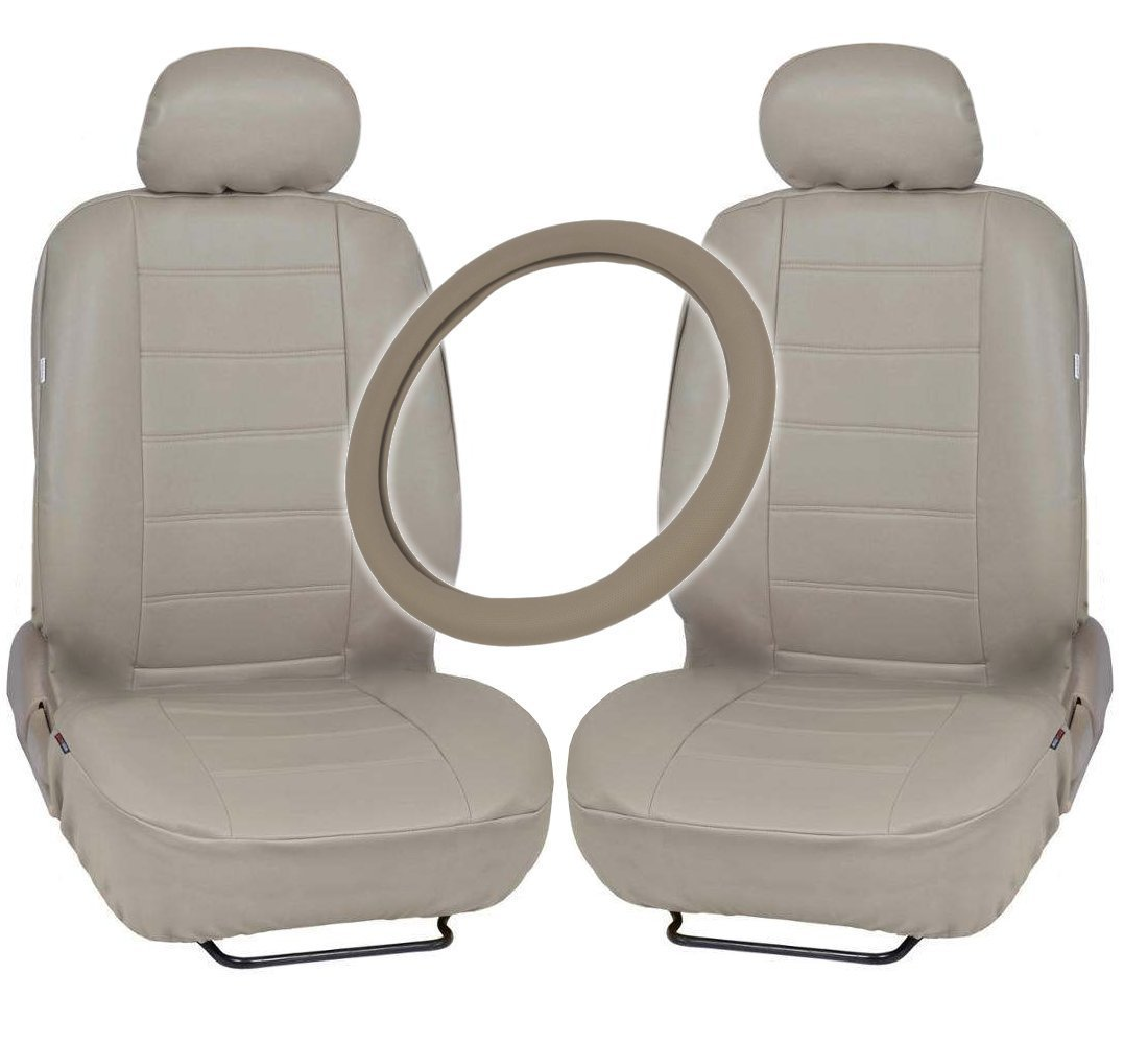 Leatherette Front Car Seat Covers GripDrive Steering Wheel