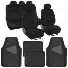 Voyager Seat Cover 7 Pc Scottsdale Fabric Black & 4 Pc 2 Tone Black Odorless Mat