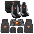 Man of Steel Superman Low Back Seat Cover Carpet Floor Mat Auto Shade -14 Pc Set