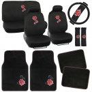 Vintage Ladybug on Black Car Seat Covers Floor Mats Padded Foam Cloth