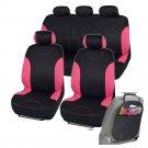 Car Seat Covers Fit for Sedan SUV Pink Premium Rome Seat w Organizer Kick Mat