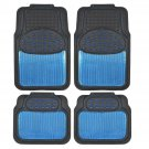 Metallic Rubber Floor Mats Blue for Car SUV Truck Black Trim to Fit 4 Piece