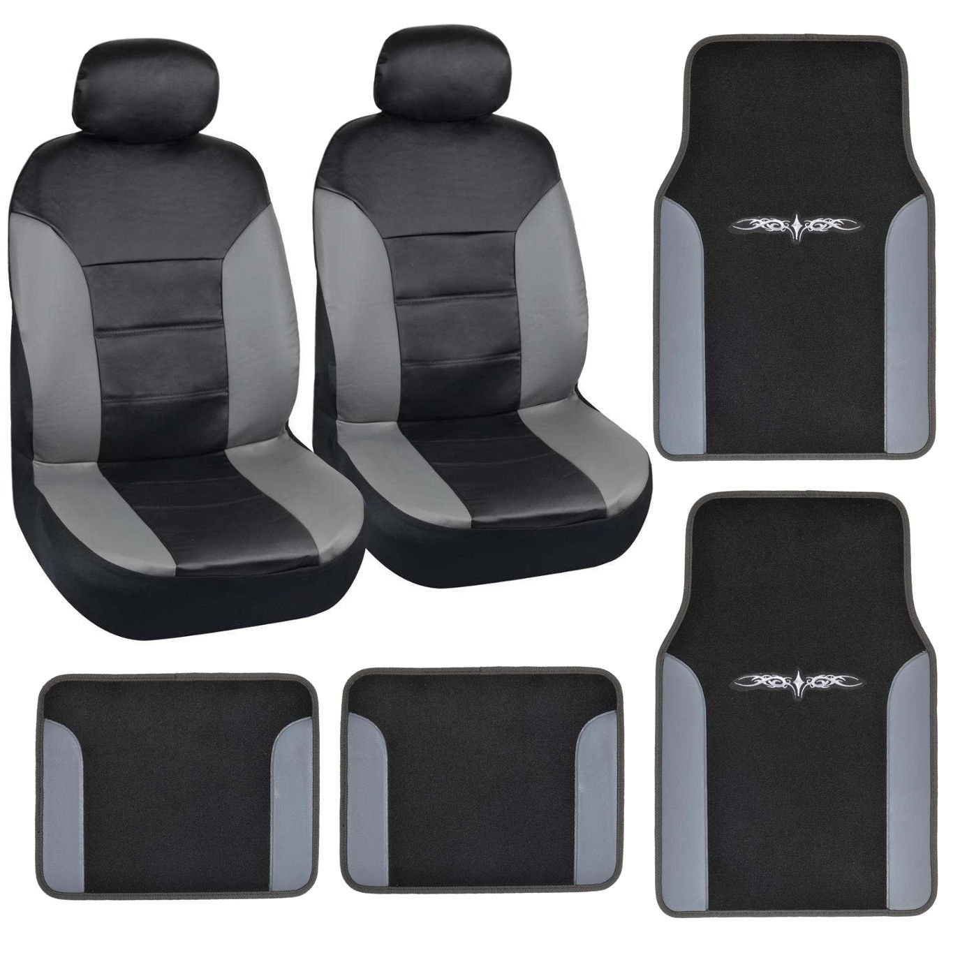 Car Seat Covers Floor Mats 8pc Set Gray Black PU Leather