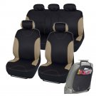 Car Seat Covers Fit for Sedan SUV Beige Premium Rome Seat w Organizer Kick Mat