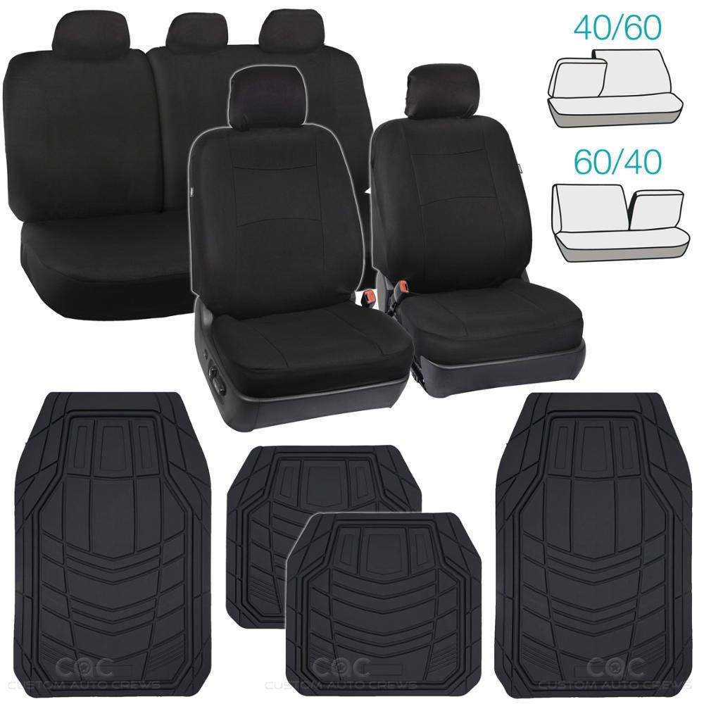 OEM Black Car Seat Covers Heavy Duty Floor Mats Combo