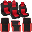 9 Piece Car Seat Covers Set Black and Red w 4 Piece Red Carpet Floor Mats