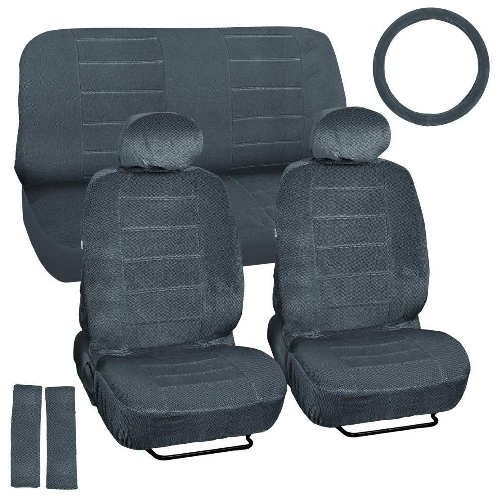 OEM Car Seat Covers Charcoal Regal Velour Front and Rear Bench 9 Piece Full Set