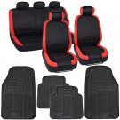 Two Tone Black & Red Accent Stripes Car Set Seat Cover w High Grade Mat
