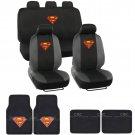 Superman Seat Covers & Floor Mats - Super Hero Car Front Rear Bench Carpet Pads