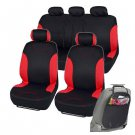 Black & Red Split Car Seat Covers & Black Channeled Rubber Floor Mats for Auto
