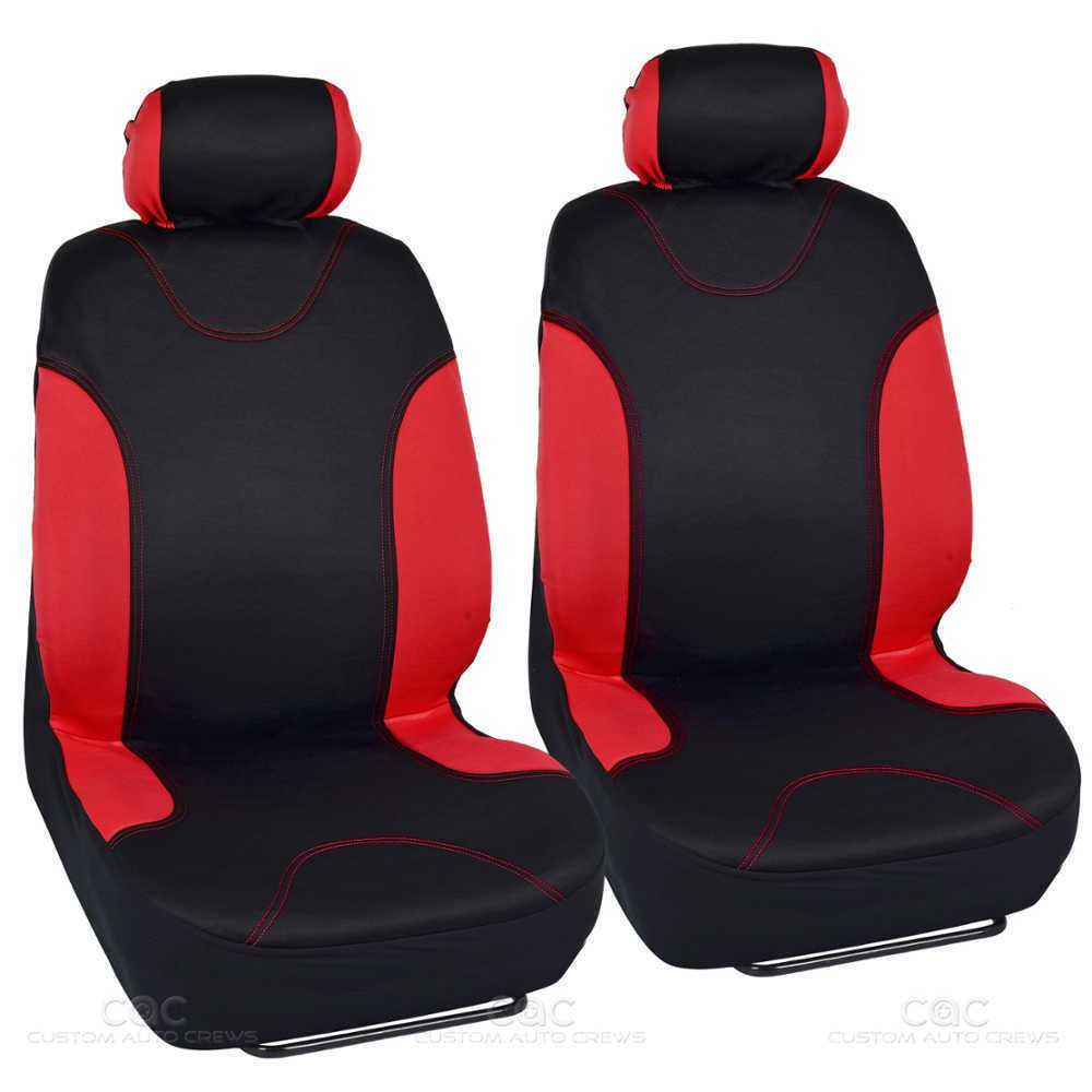 13pc Seat Covers & Floor Mats For Auto Black Red With