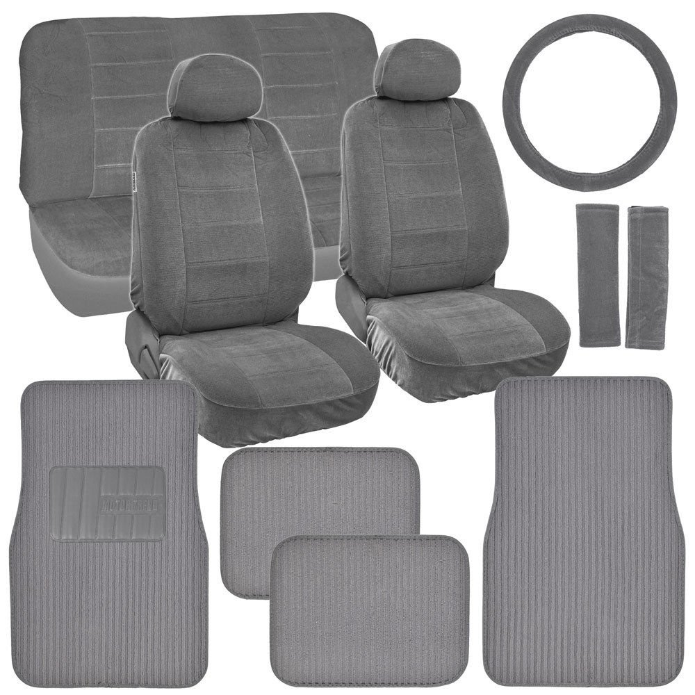 classic gray seat covers for car truck suv auto w ribbed floor mats. Black Bedroom Furniture Sets. Home Design Ideas