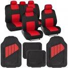 9 Piece Red & Black Seat Covers Set Split Bench & 4pc HD Rubber Mats