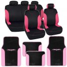 Pink on Flat Black Cloth Car Seat Covers Accent Design w Floor Mats SUV Car