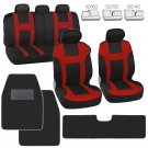 Monaco Red Set Car Seat Covers and Solid Black Hefty Mats Front and Rear