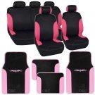 13 pc Seat Covers & Floor Mats for Car Black/Pink w Vinyl Trim Mats Bucatti