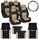 14Pc Car Seat Covers Set Full Bench Black & Beige w PU Leather Carpet Floor Mat