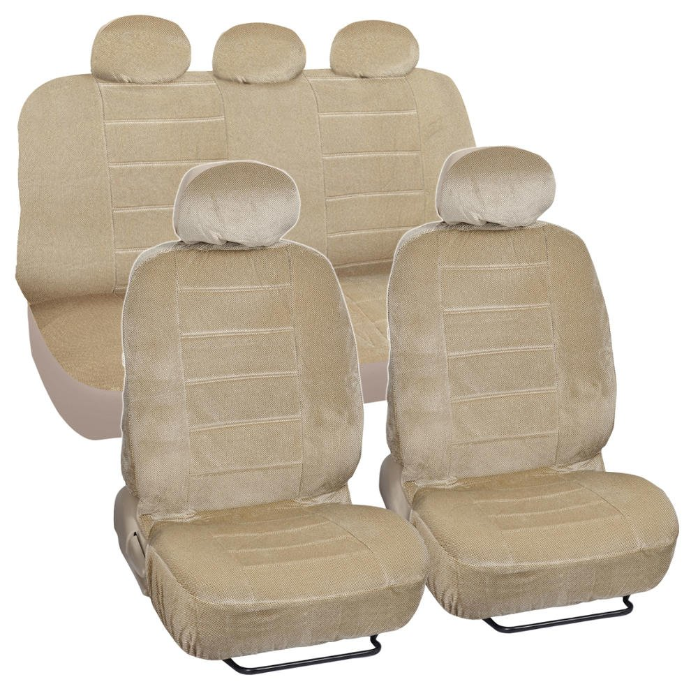 car seat covers low back 9 pc set padded encore cloth beige. Black Bedroom Furniture Sets. Home Design Ideas