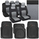 4 Pc Deep Dish Rubber Mats- 9 Pc Sporty Spacer Mesh Gray Cloth Car Seat Covers