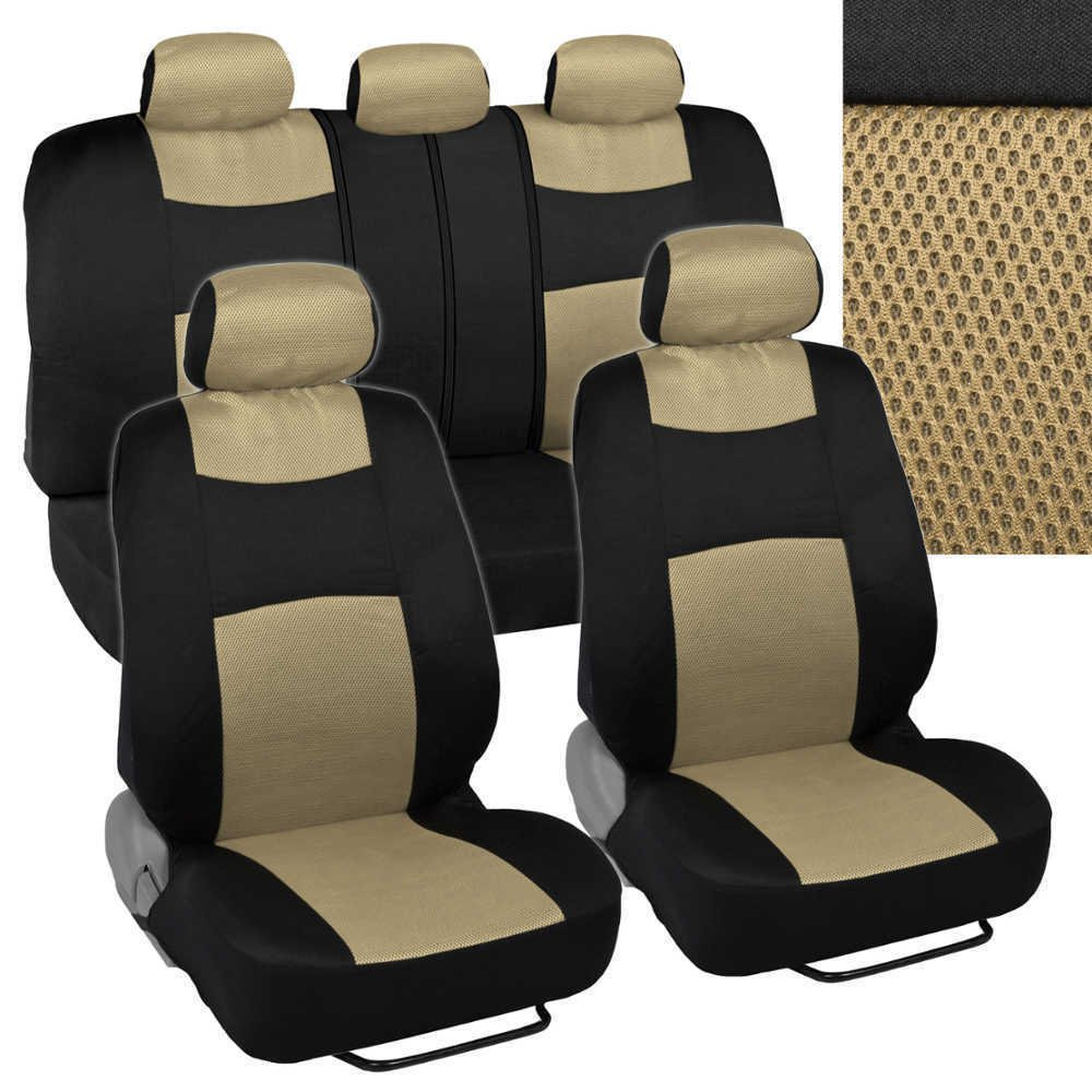 car seat covers solid beige cloth w knit mesh accent panels front bench. Black Bedroom Furniture Sets. Home Design Ideas