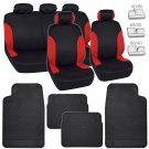 Red Side Accent on Black Polyester Car Seat Covers w/ Rubber Floor Mats Auto Set