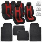 Red Sport Stripes Car Seat Covers w/ Black Heavy Duty Rubber Floor Mats