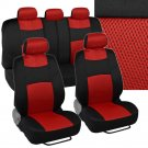 Black Red Mesh Full Set of Deluxe Car 9 Piece Low Back Seat Covers