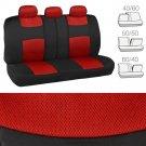 Mesh Car Seat Covers Front Rear Split Option Bench Full Interior Set Black Red