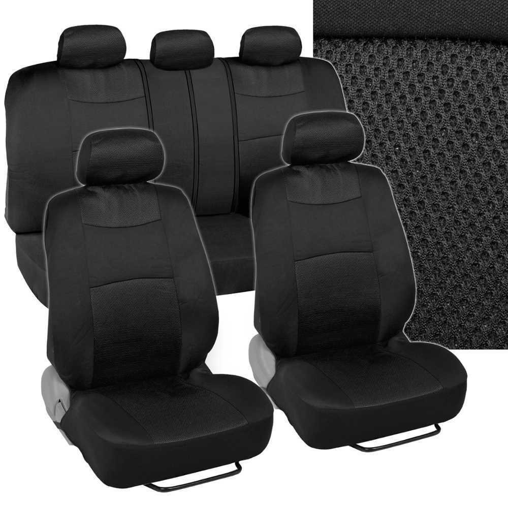 black mesh car seat covers cloth fabric full set auto accessories. Black Bedroom Furniture Sets. Home Design Ideas