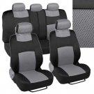 Black and Gray Car Seat Covers Mesh & Cloth Fabric Grey Full Set