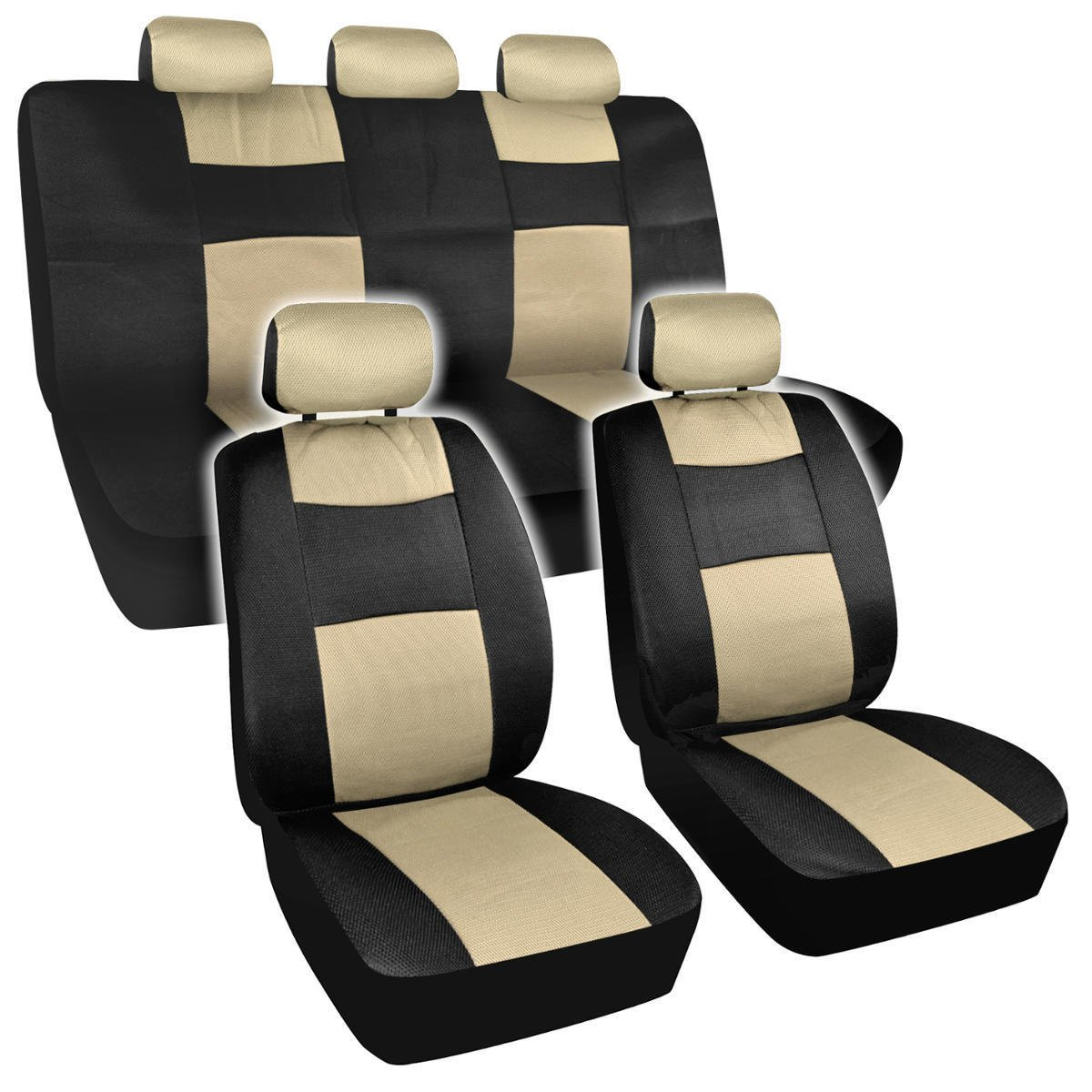 Full Interior Car Seat Covers Black Beige Supreme Padding Mesh Netting Comfort