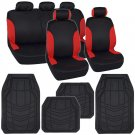 Red on Black Auto Seat Covers for Car SUV & Rubber Floor Mats 13pc Set