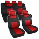 11pc Seat Covers Mesh Black and Red Sporty Two Tone Set Steering Wheel Pads