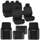 Black/Black Car Interior Set Split Bench Seat Covers 2 Tone Floor Mats