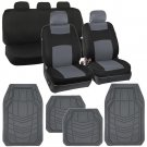 Gray on Black Car Seat Covers Solid Bench w/ Line Channel Rubber Floor Mats