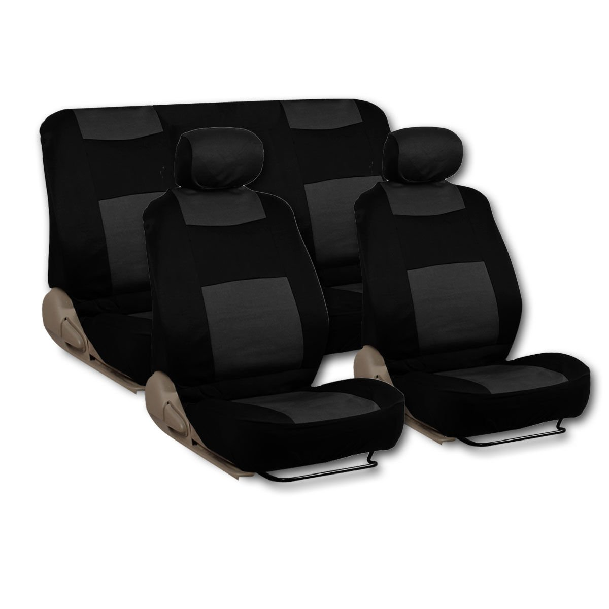 Black Type R 9 Piece Front Car Seat Rear Bench Head Rest