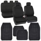 Car Seat Covers Black Polyester Cloth w/ Front & Rear HD Rubber Floor Mats