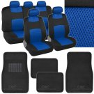 9 Pc Sporty Mesh Cloth Blue Black Seat Cover and 4 Pc Solid Black Carpet Mats