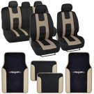 Beige on Black Striped Car Seat Covers Auto SUV Sport Mesh Cloth w Two Tone Mat