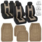 Tan Auto Rubber Floor Mats & Sporty Black/Beige Polyester Cloth Seat Covers