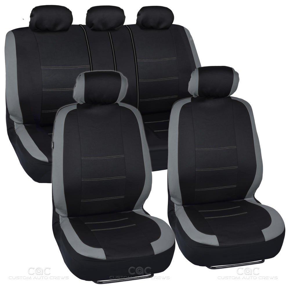 Original Black and Gray Cloth Car Seat Covers Full Interior Set for Auto