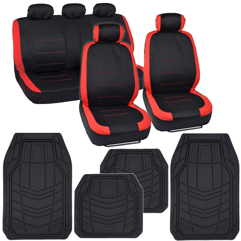 Venice Series Car Seat Covers Black/Red Pack Combo Heavy