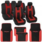 Red on Black Striped Car Seat Covers Auto SUV Sport Mesh Cloth w/ Two Tone Mat